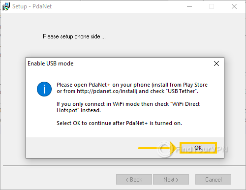 "The PdaNet+ setup shows the ""Enable USB Mode"" window"