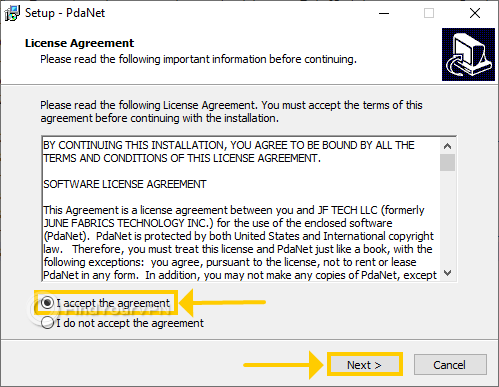 PdaNet+ setup shows the license agreement