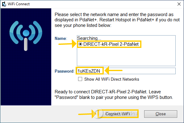 PdaNet+ shows the list of WiFi networks in range
