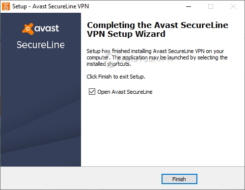 Finish setup for Avast SecureLine VPN