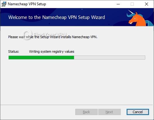 The progress bar for installing Namecheap VPN on Windows