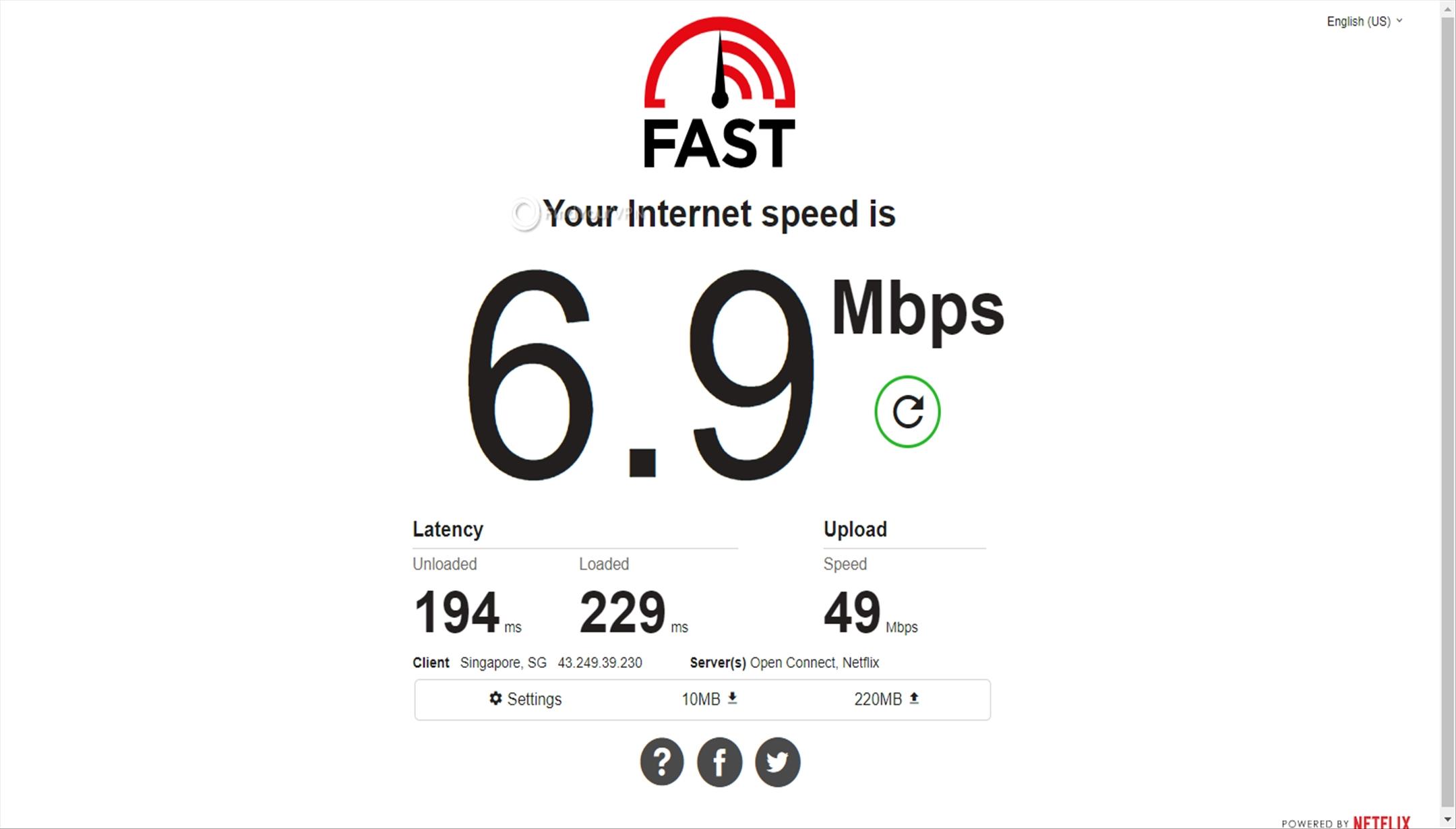 The speed test results for BolehVPN's Singapore server