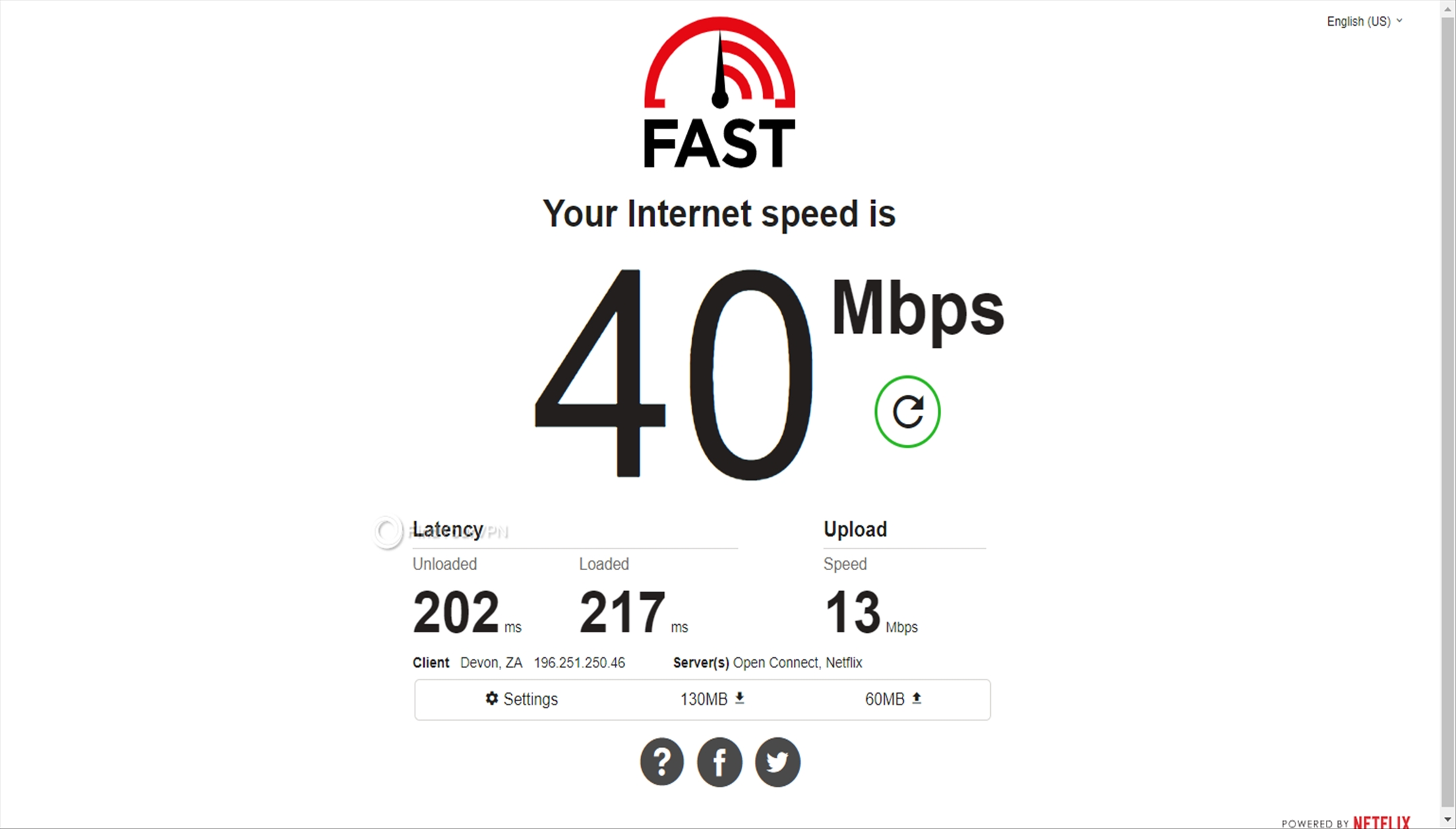 Speed test results Avast SecureLine VPN South Africa
