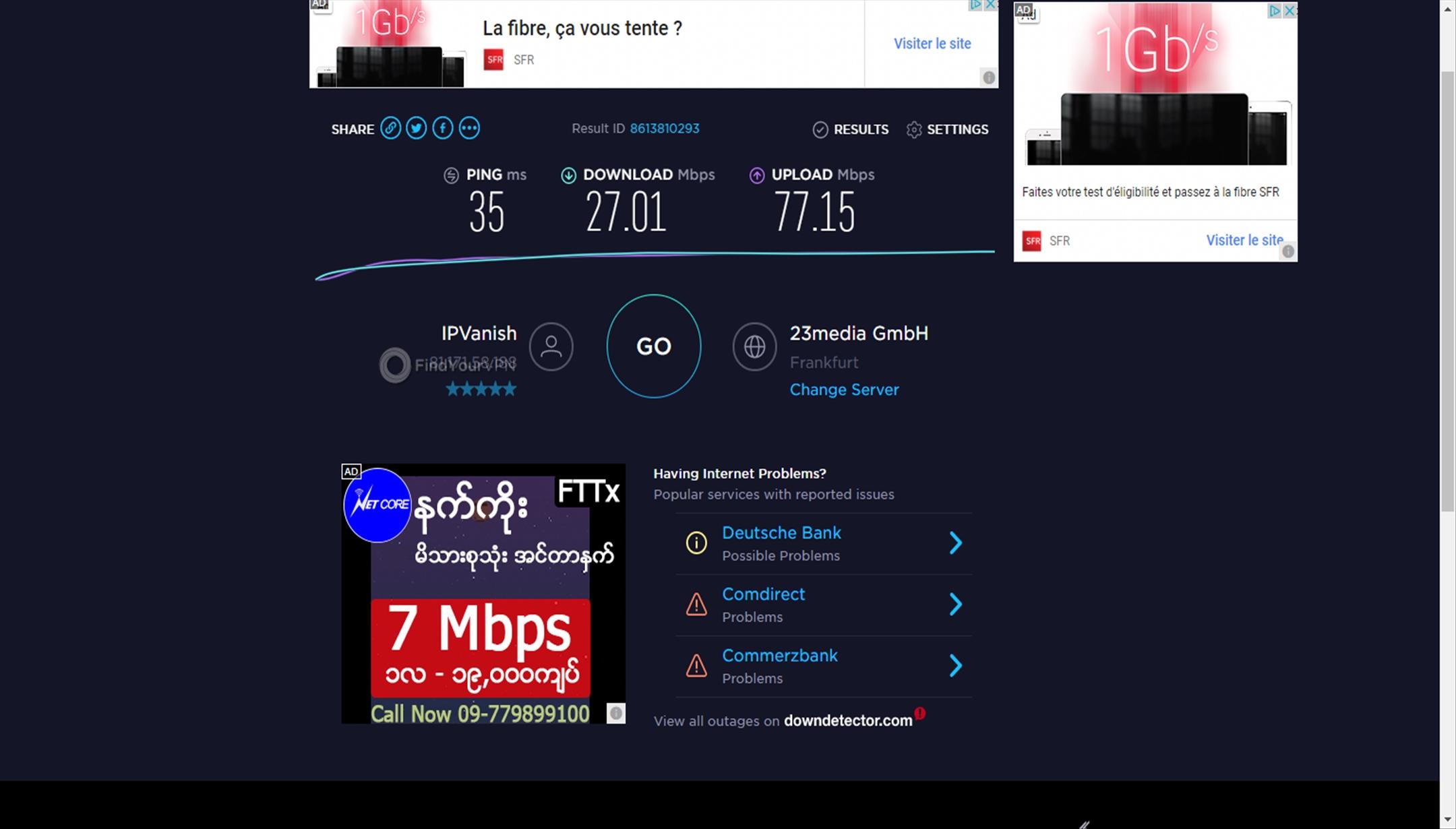 Namecheap VPN's Frankfurt speed test