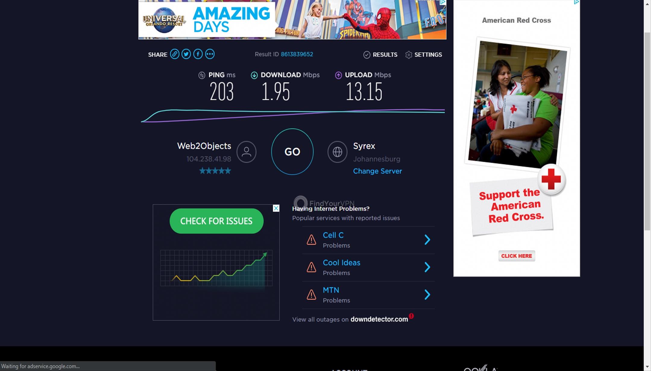Namecheap VPN's Johannesburg speed test