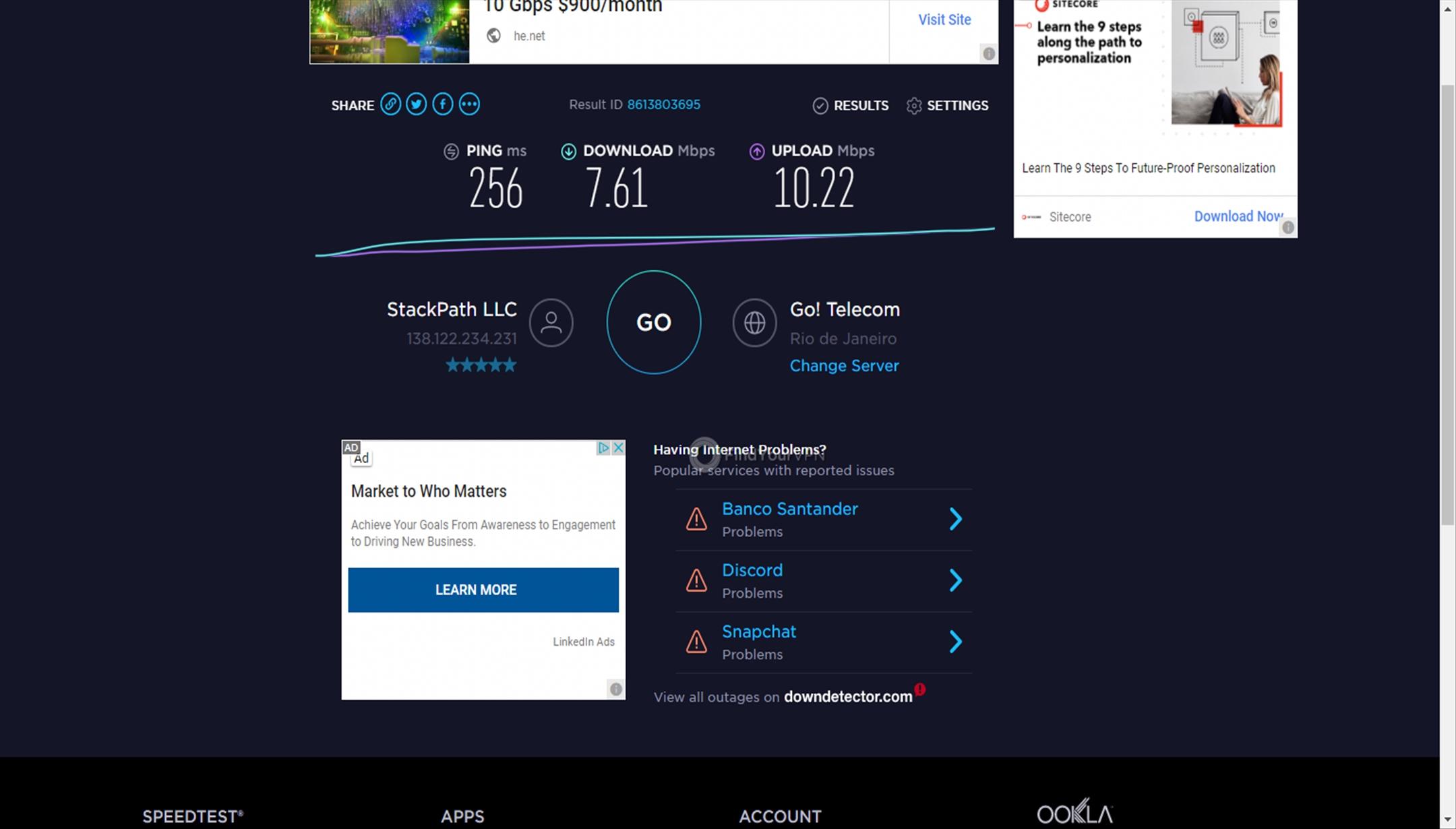 Namecheap VPN's Rio de Janeiro speed test