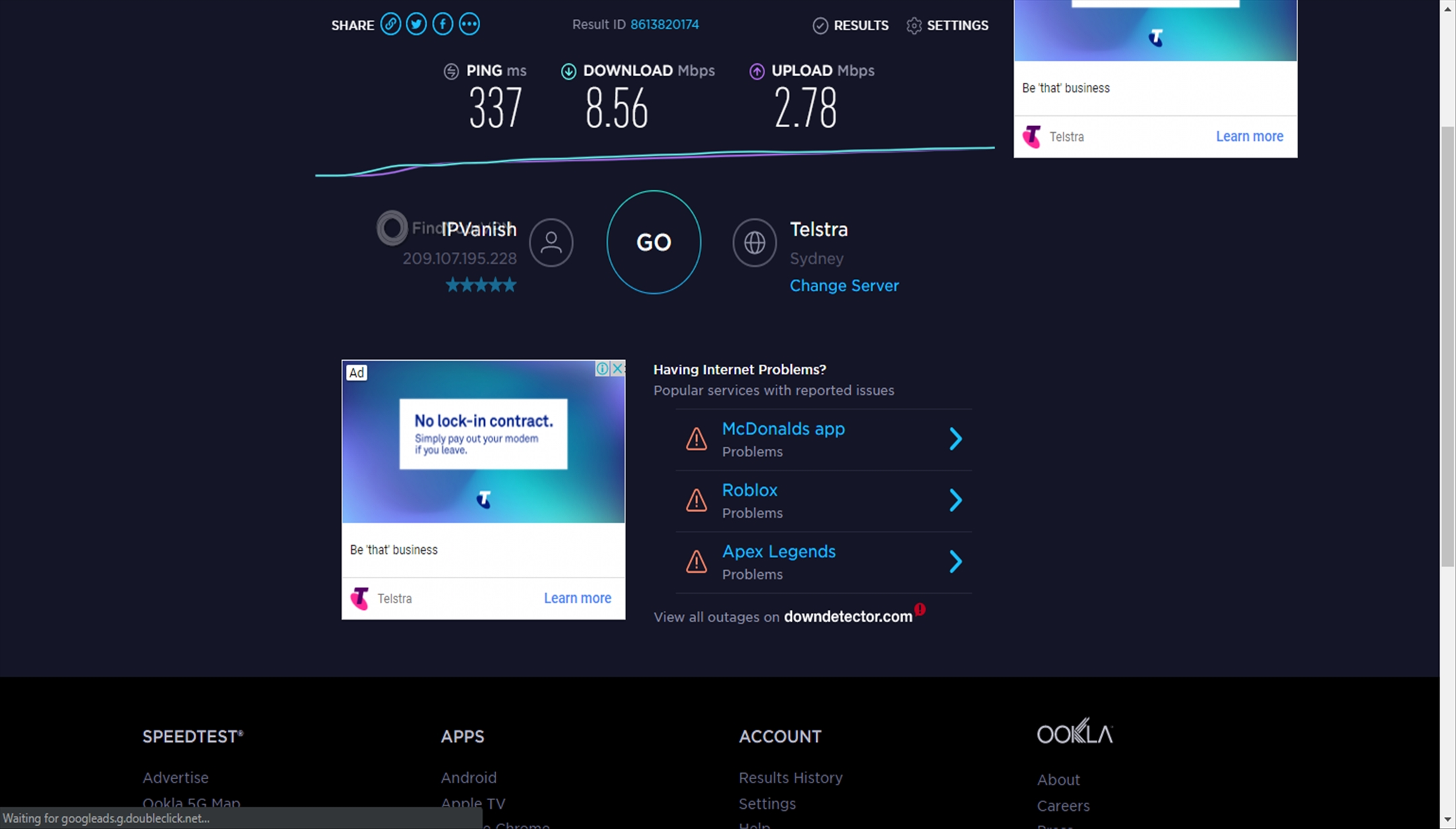 Namecheap VPN's Sydney speed test