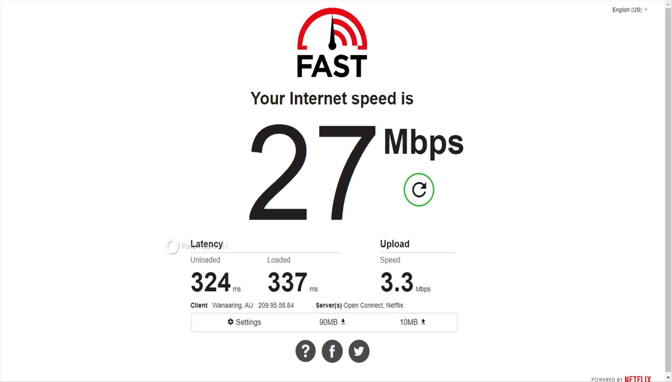 The speed test of Perfect Privacy VPN's Australia server