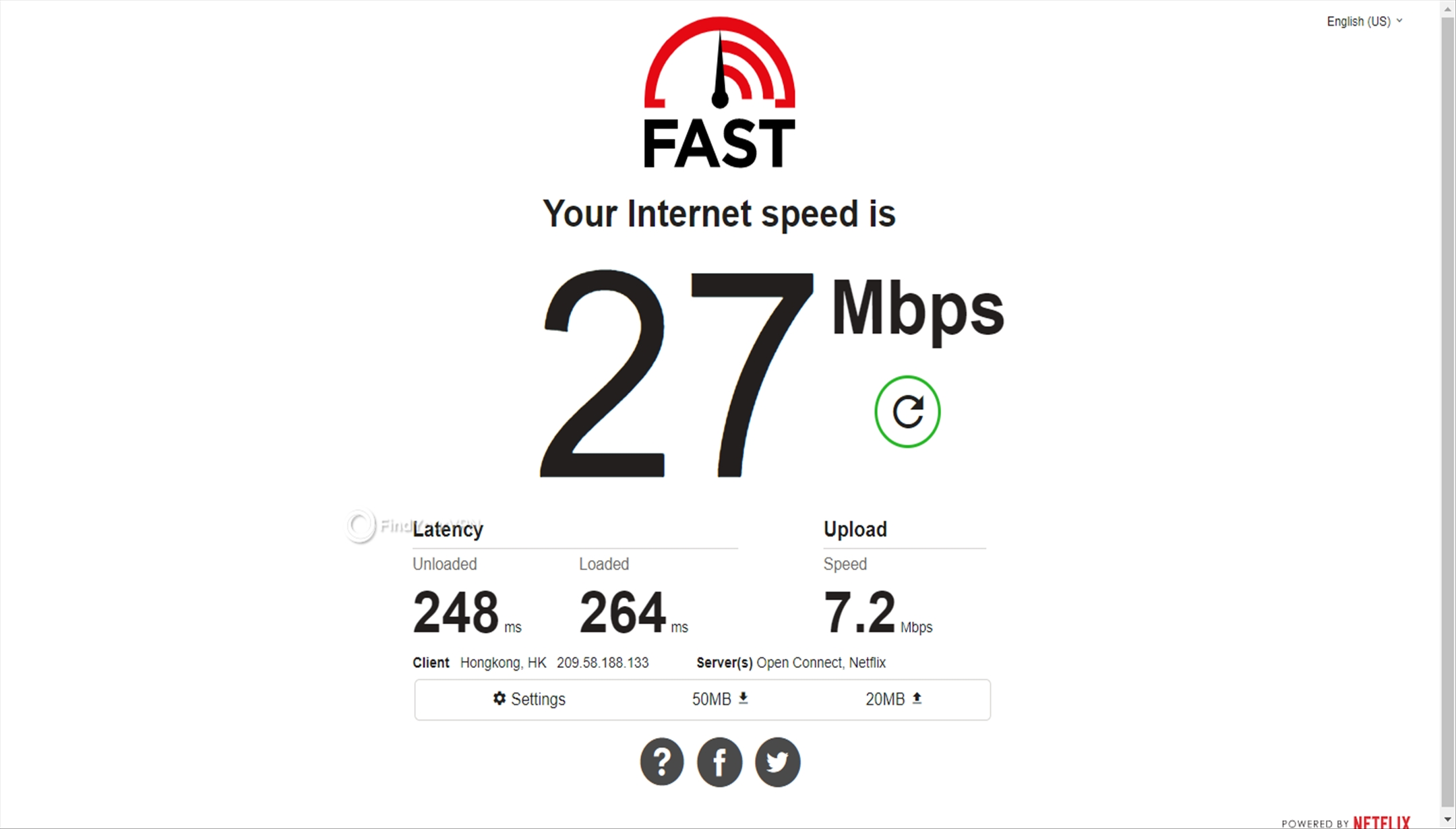 The speed test for Perfect Privacy VPN's Hong Kong server