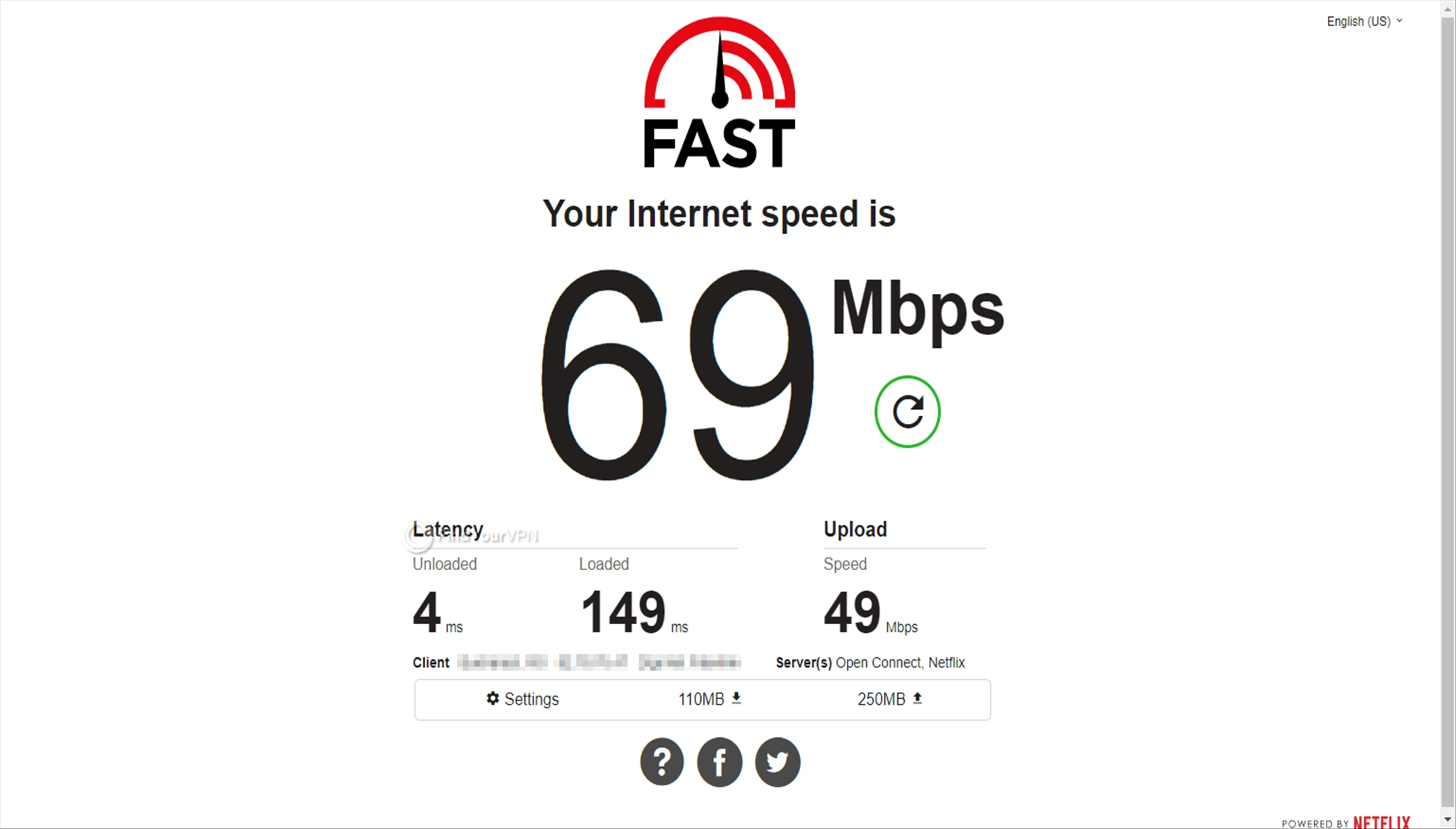 The speed test without Perfect Privacy VPN