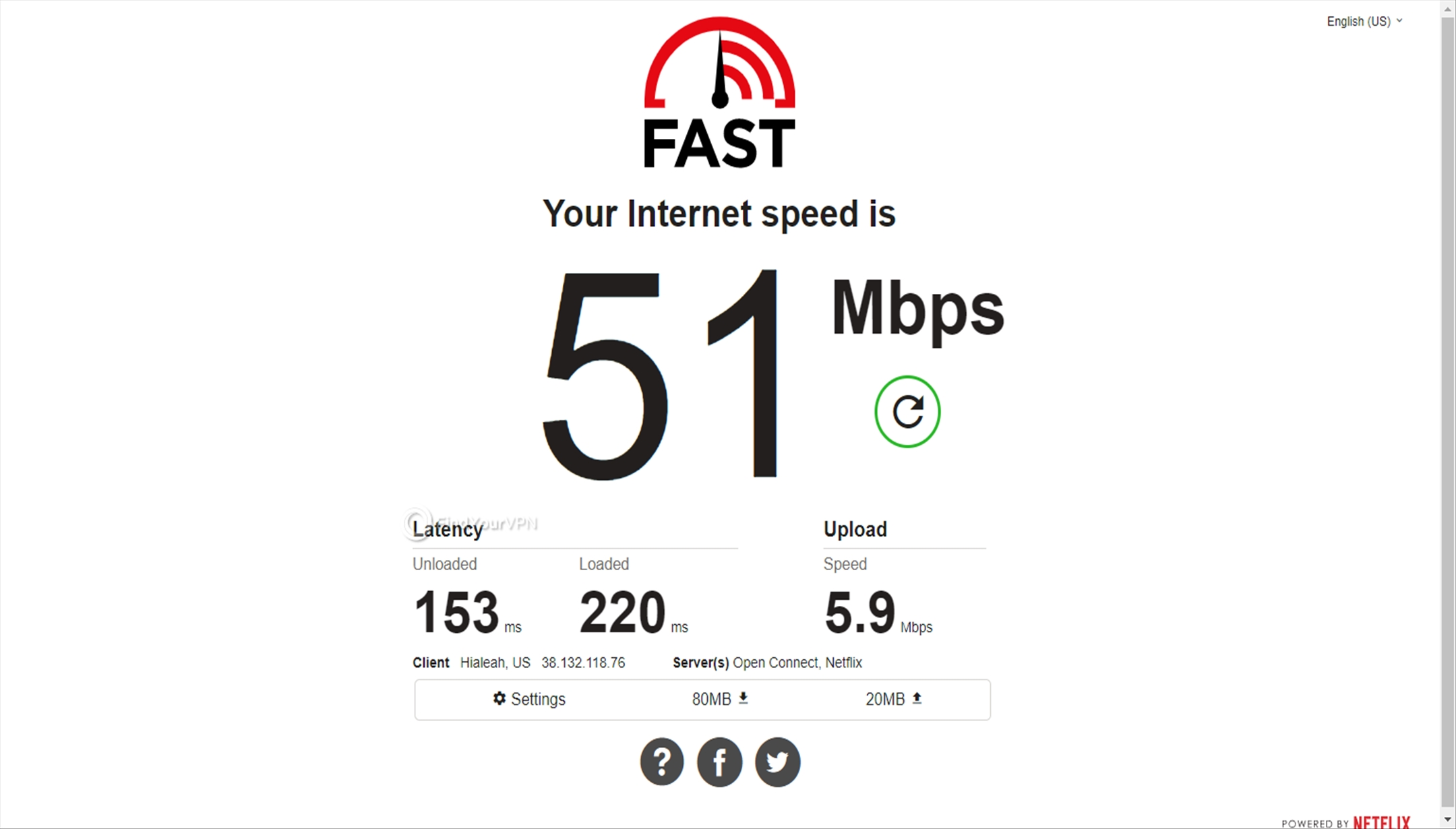The speed test for Perfect Privacy VPN's USA server