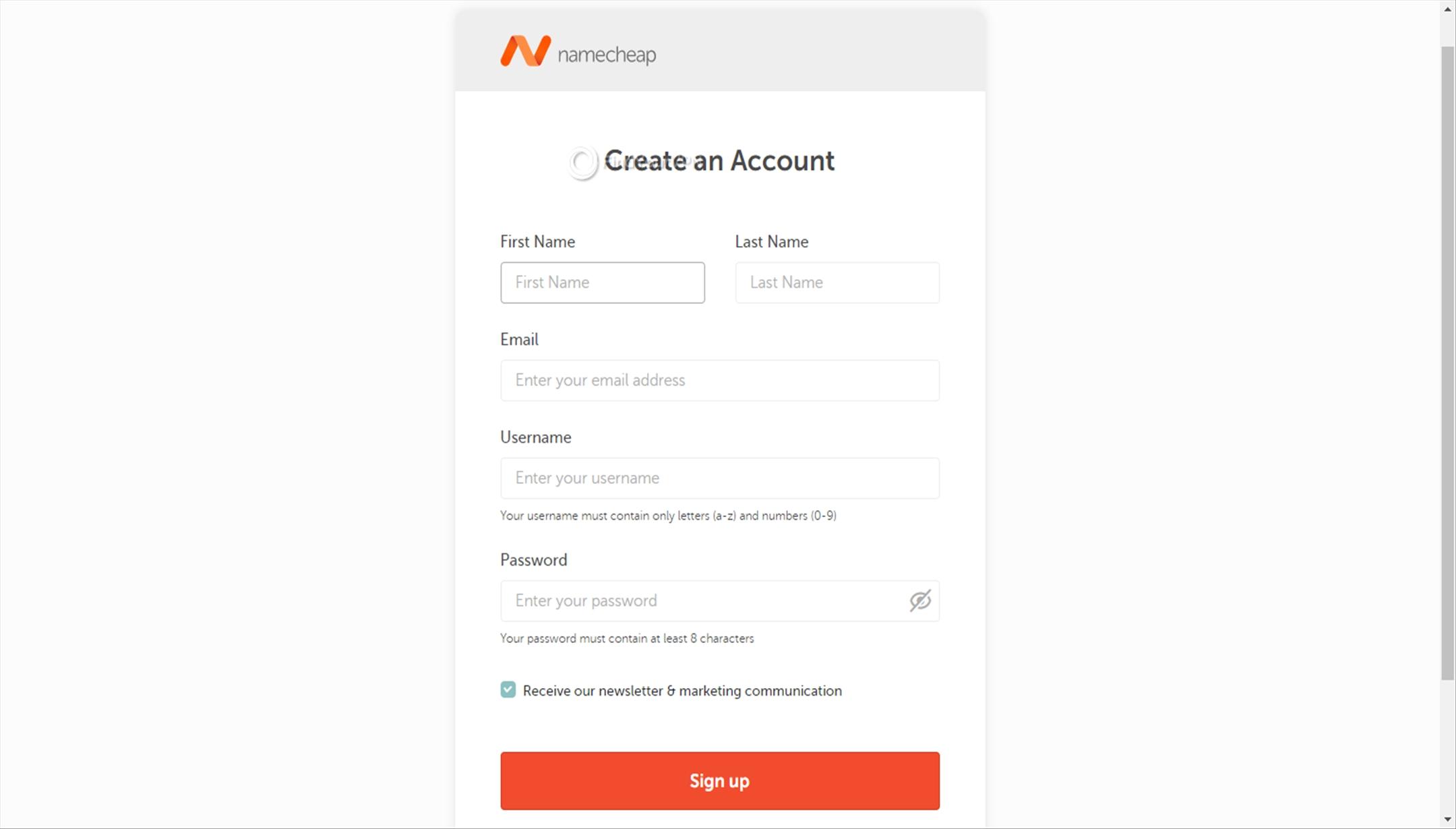 Namecheap VPN credentials fields
