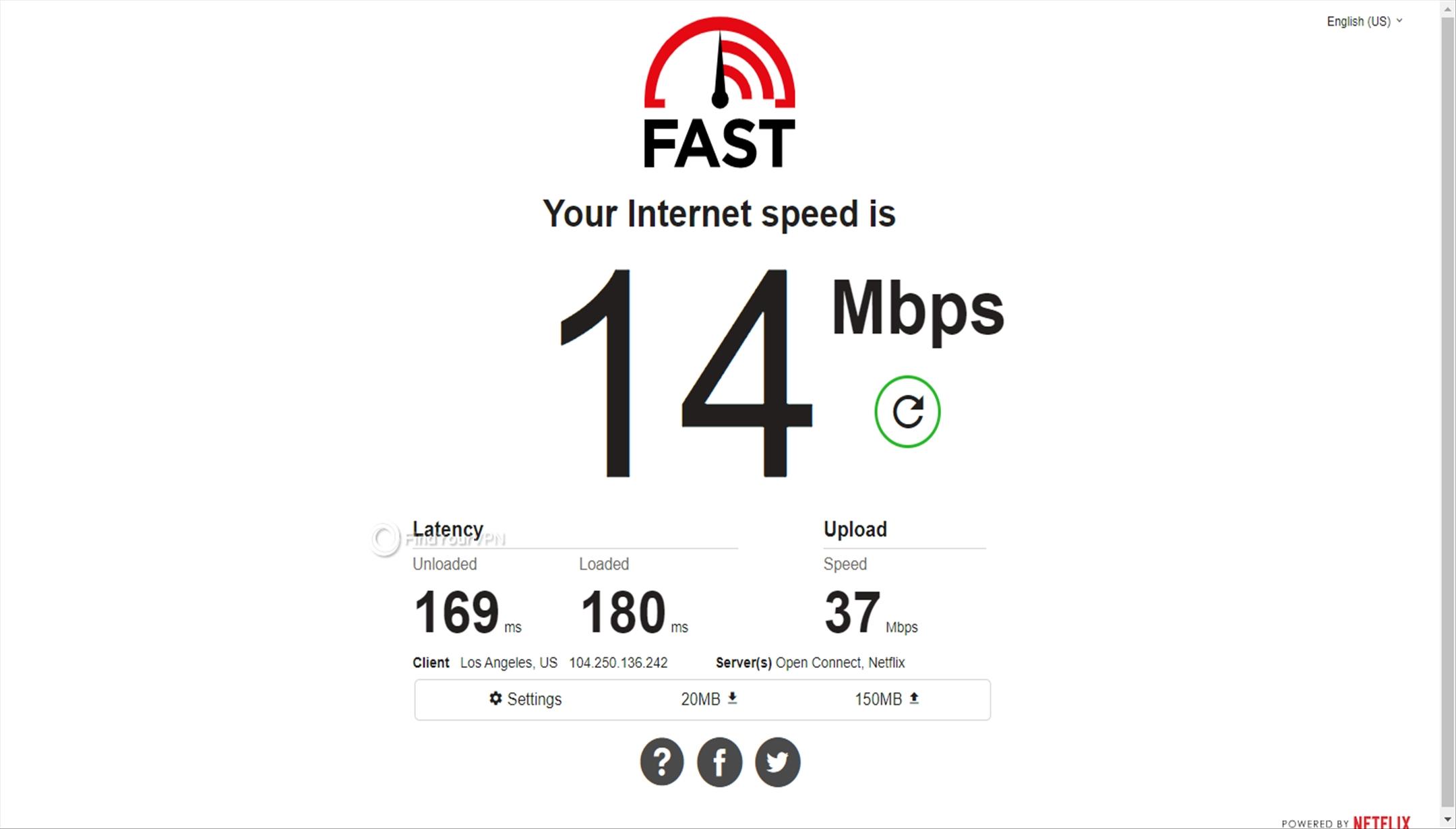 BolehVPN's USA speed test