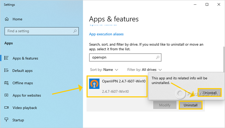 Windows 10 shows how to uninstall OpenVPN