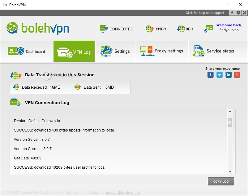 You can see a BolehVPN VPN log