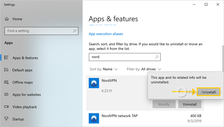 Windows 10 requires confirmation to uninstall the NordVPN native app