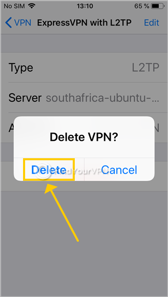 iOS asks for confirmation to delete the ExpressVPN profile
