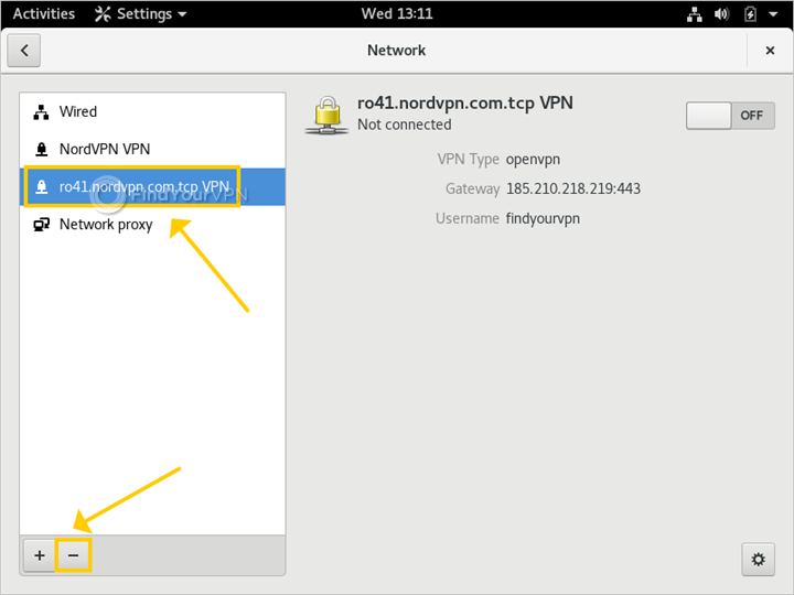 Linux shows how to delete a NordVPN OpenVPN file