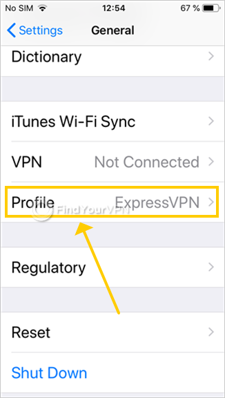 iOS shows the general settings and highlights the ExpressVPN profile