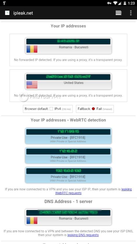 ipleak WARP results leak