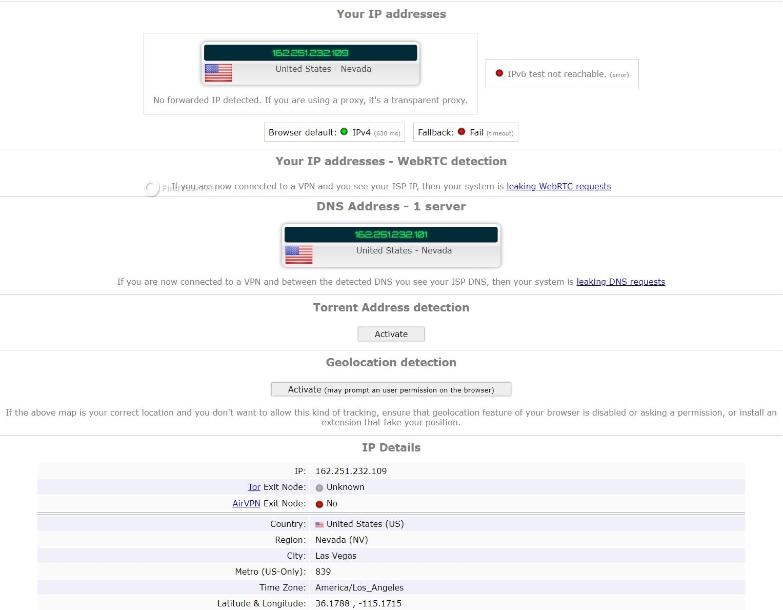 Namecheap VPN's ipleak results