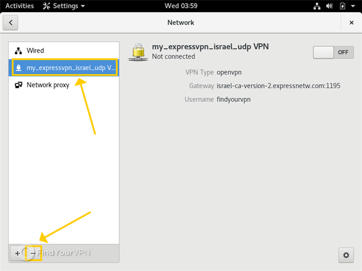 The Linux Network window shows how to remove an ExpressVPN OpenVPN connection