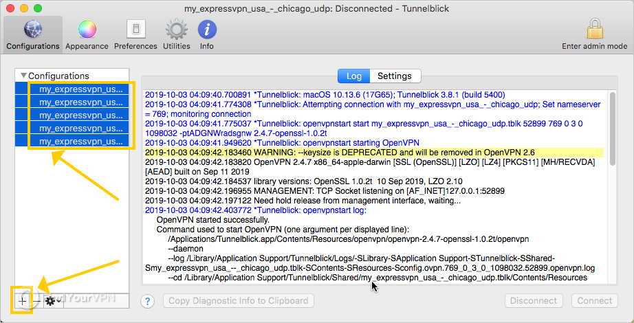 Tunnelblick shows how to remove the ExpressVPN configurations on Mac