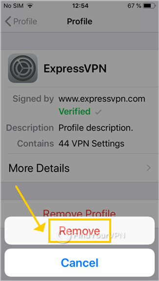 iOS asks for confirmation to remove the ExpressVPN profile