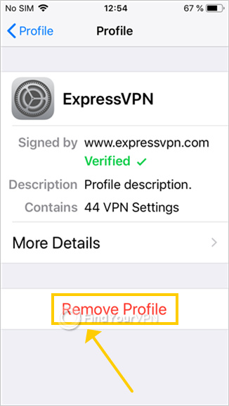 iOS shows how to remove the ExpressVPN profile