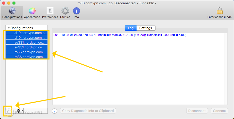 Tunnelblick shows how to remove the NordVPN configurations on Mac