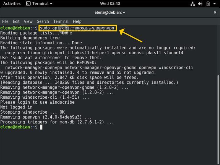 A Terminal in Linux shows how to uninstall the OpenVPN client