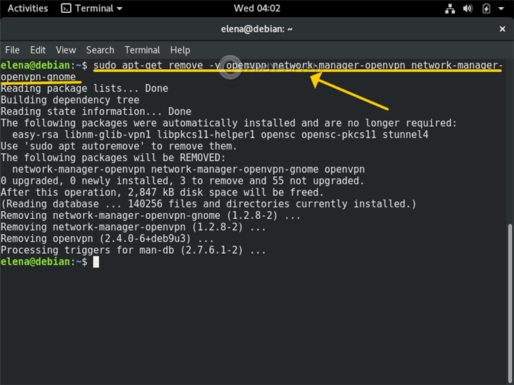 A Terminal in Linux shows how to remove the Ubuntu Network Manager
