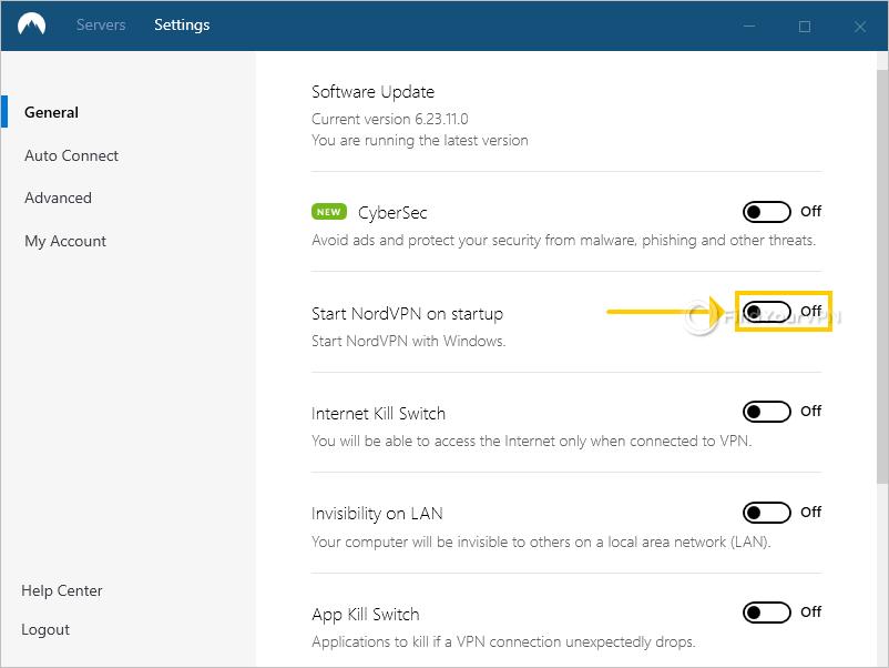 NordVPN shows the autostart setting for Windows