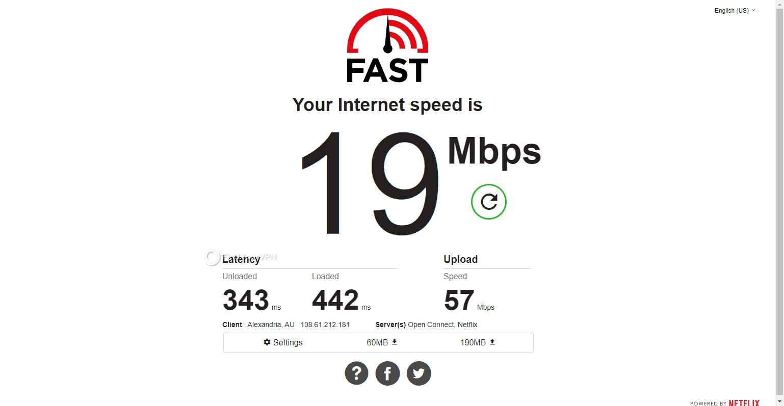 The Australia speed results for SaferVPN