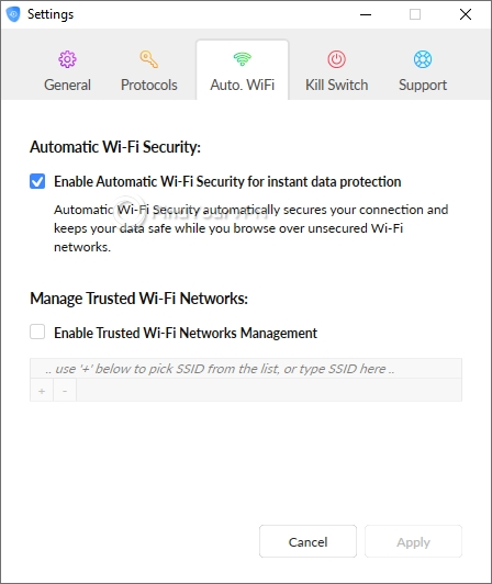 SaferVPN's Auto-Wifi Settings tab