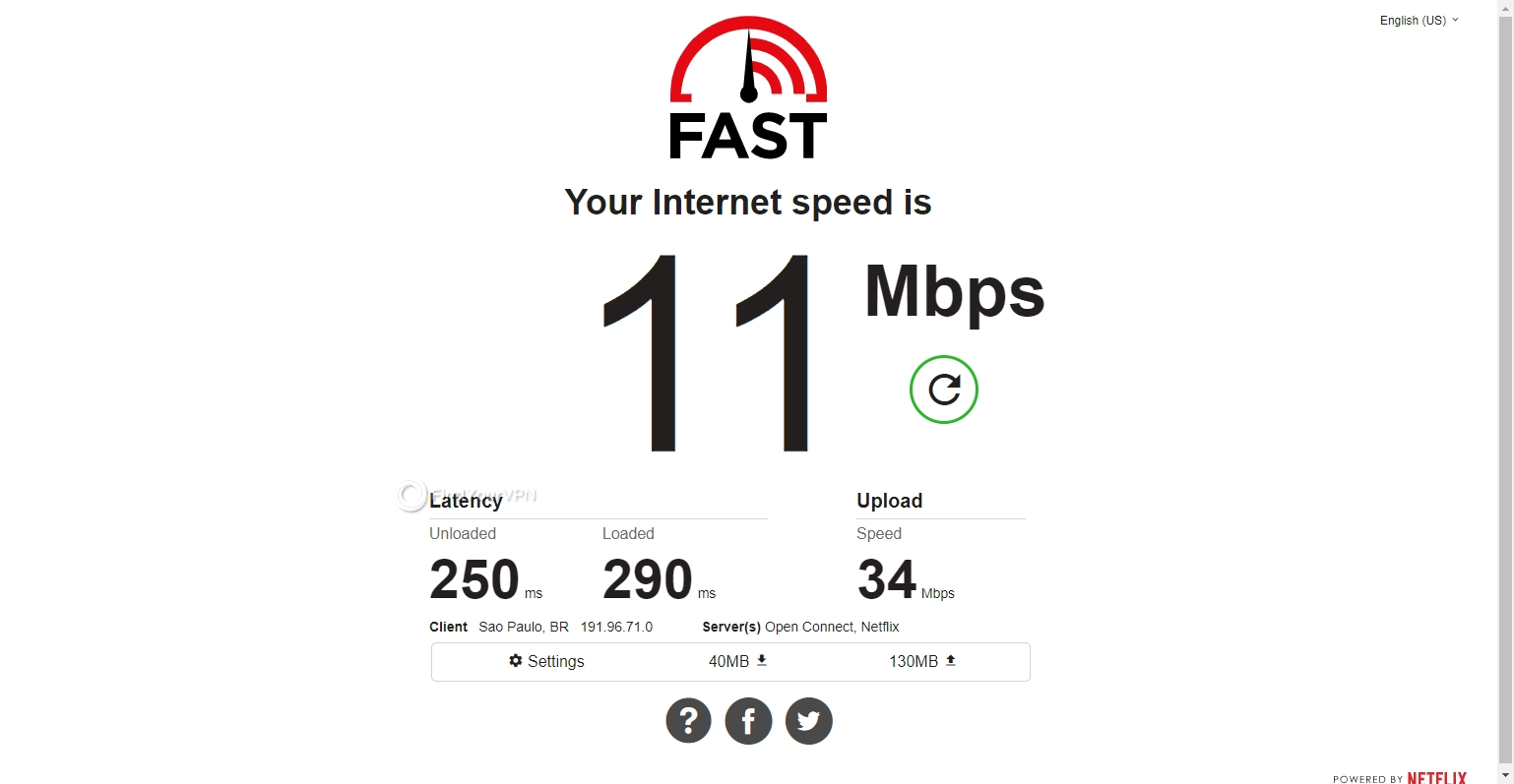 The Brazil speed test results for SaferVPN