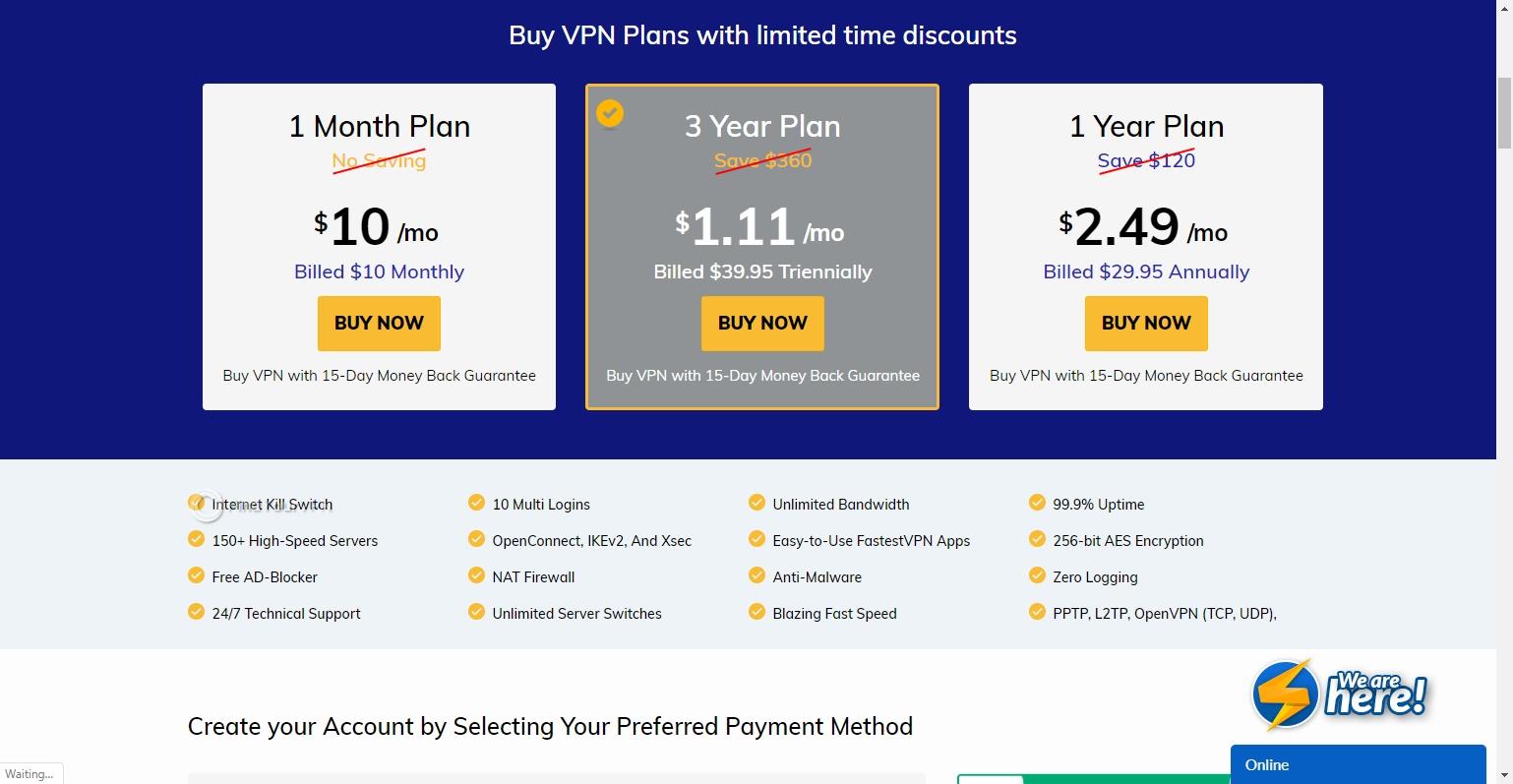 FastestVPN plan choice