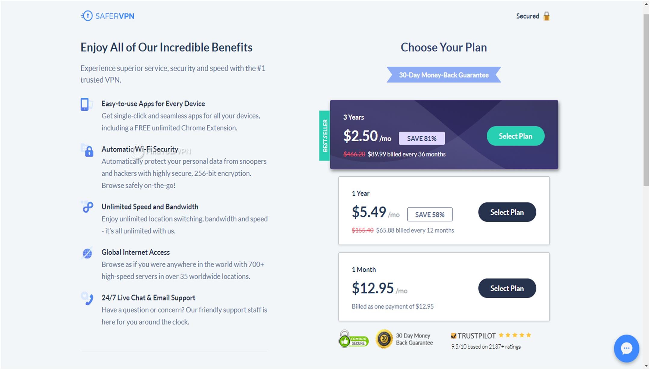 Choosing a SaferVPN plan