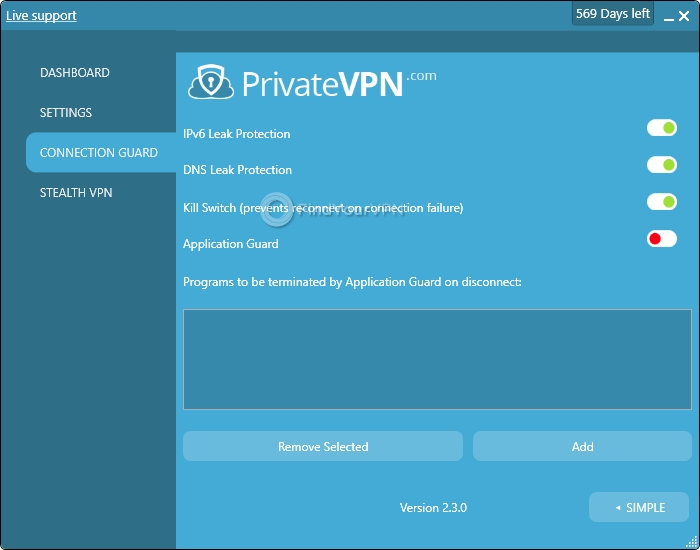 PrivateVPN's Connection Guard section