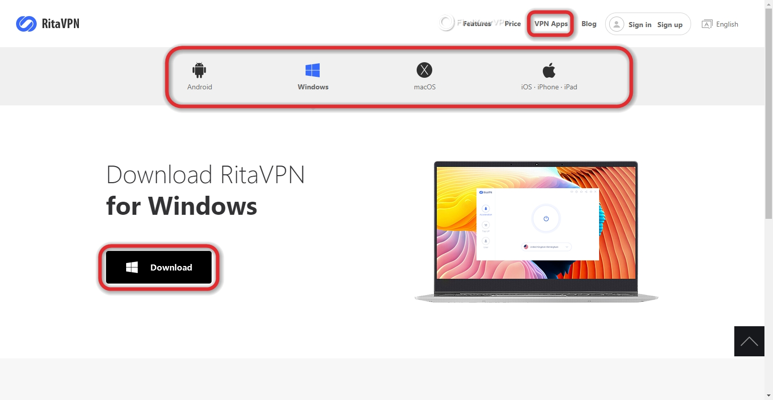 RitaVPN can be downloaded on multiple devices