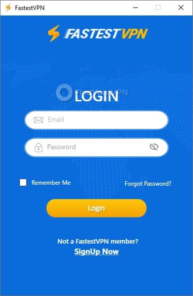 Login screen for FastestVPN