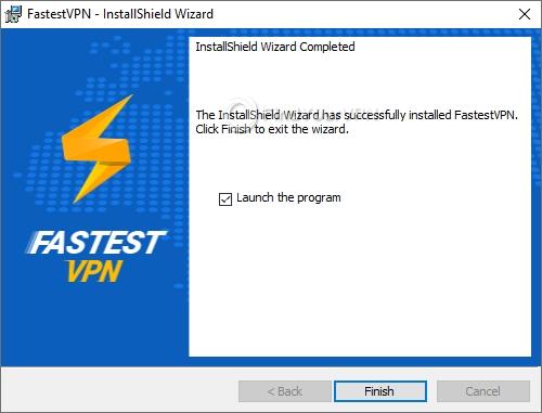 The last screen of the FastestVPN setup