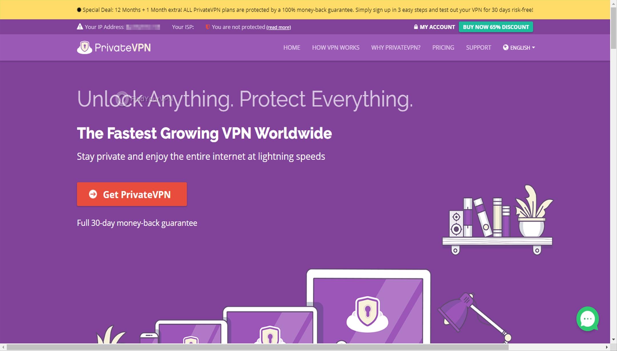 PrivateVPN landing page