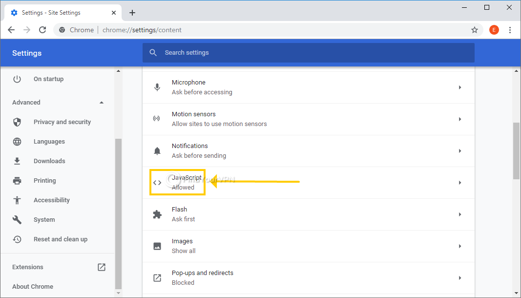 Chrome shows the JavaScript settings