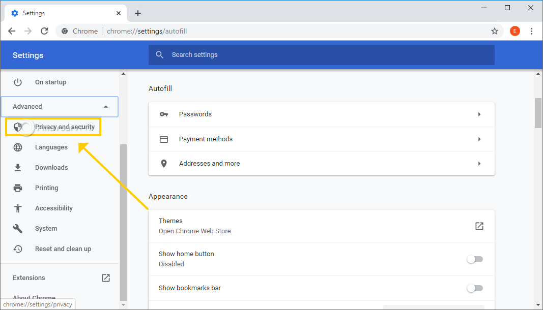 Chrome shows the advanced settings menu