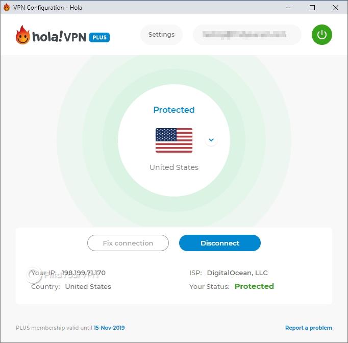 The main screen of Hola VPN