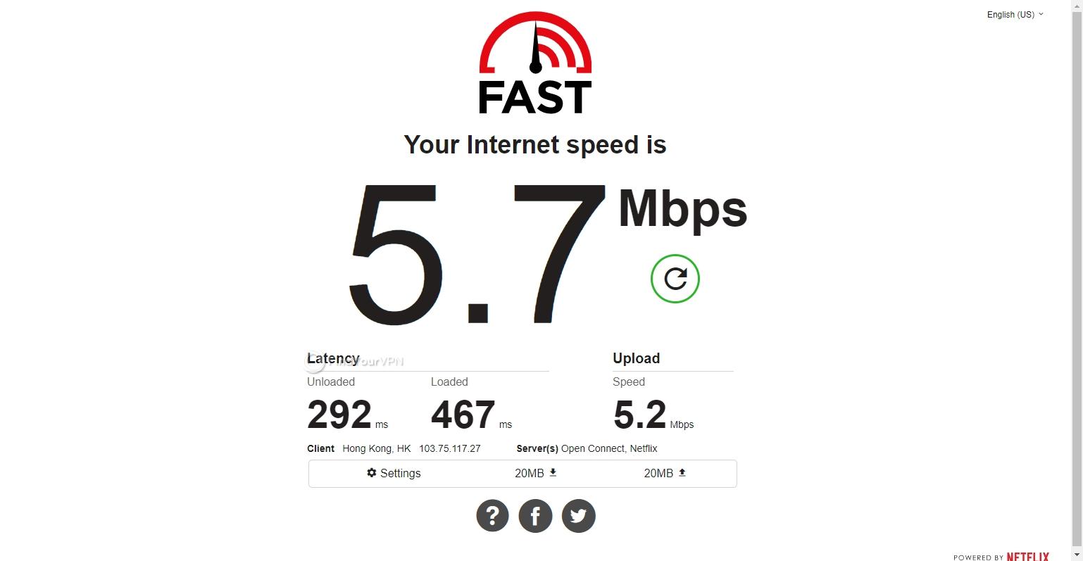 Hola VPN's Hong Kong speed results