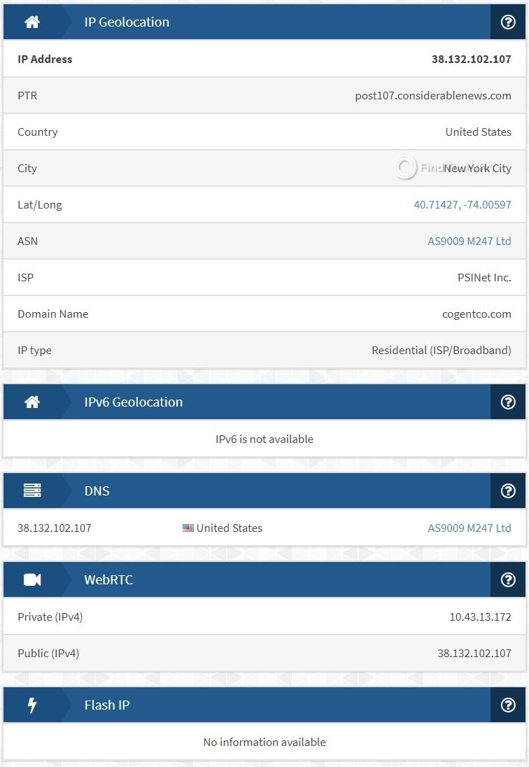FastestVPN's IPX results