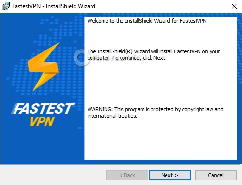 FastestVPN's setup initial screen