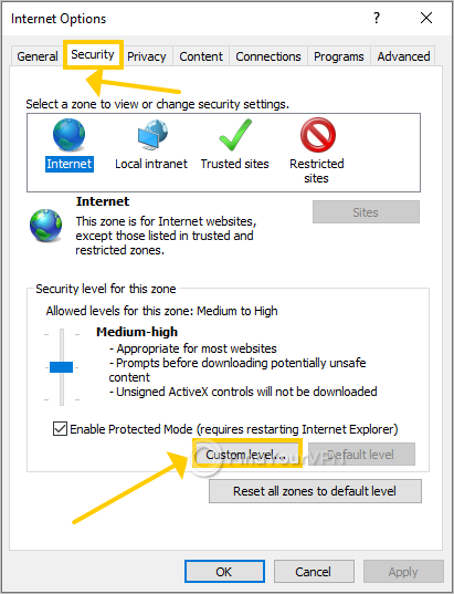 Internet Explorer shows the security options